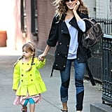 Sarah Jessica Parker walked her daughter Tabitha to school on Monday in NYC.