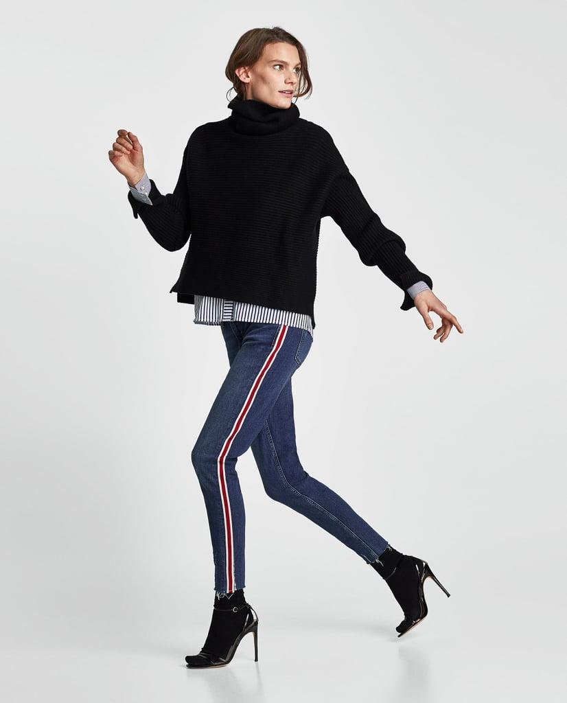 بنطال جينز مع شريطين جانبيين من Zara