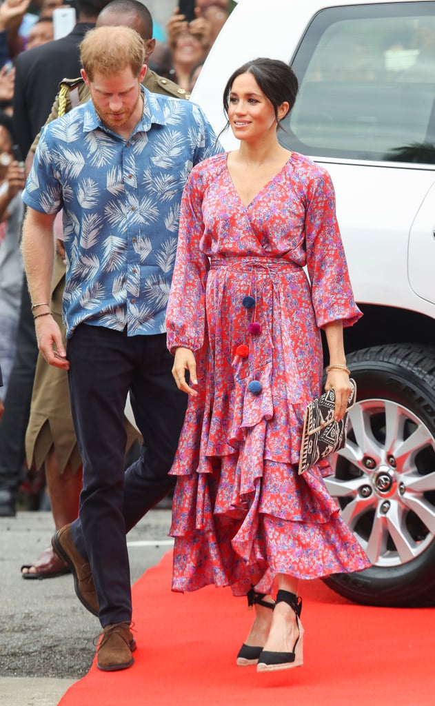 A Printed Wrap Dress and Espadrilles in Fiji in October 2018