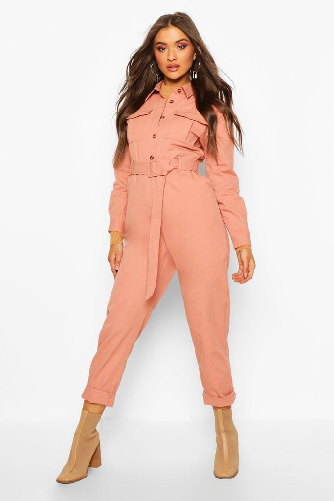 Boohoo Button-Front Belted Boiler Suit