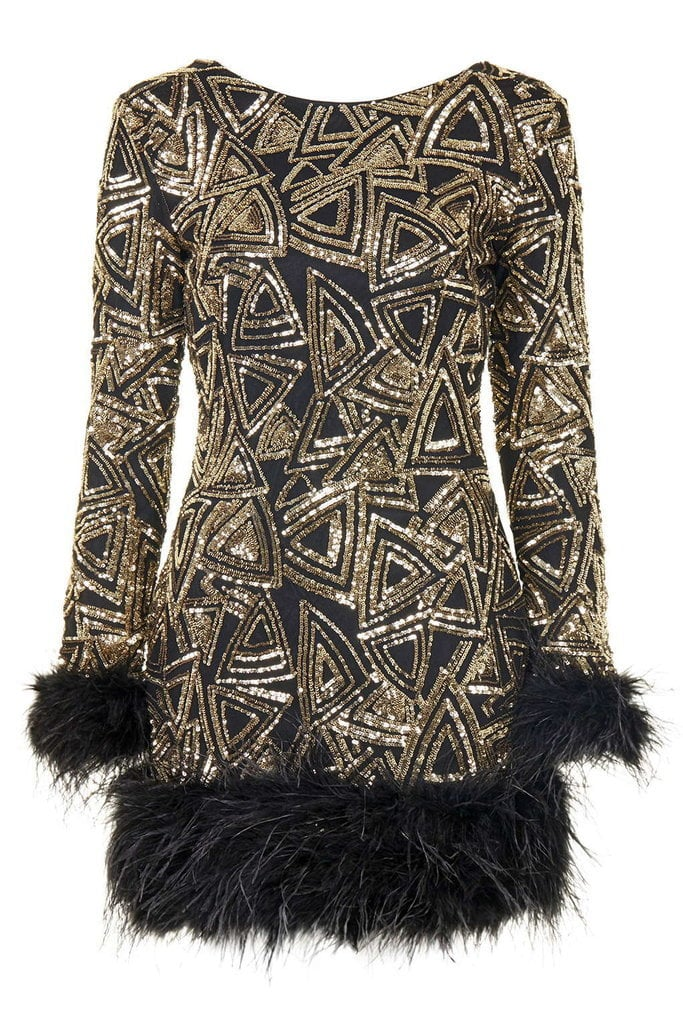 Rare Long Sleeved Feather Trim Sequin Mini Dress (£150)