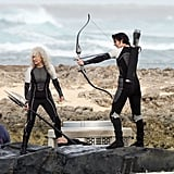 Jennifer Lawrence shot a bow and arrow in Hawaii.