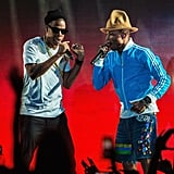 "Jay Z and Pharrell performed a medley of hits, including ""Frontin',"" ""Excuse Me Miss,"" ""La-La-La,"" and ""I Just Wanna Love U (Give It 2 Me)."""