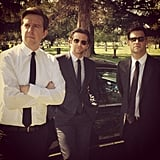 Stu (Ed Helms), Phil (Bradley Cooper), and Doug (Justin Bartha) suit up for . . . a wedding? A funeral? Source: Instagram user toddphillips1