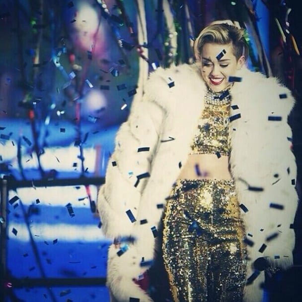 Miley Cyrus's New Year's Eve outfit in a word: fabulous. Source: Instagram user mileycyrus