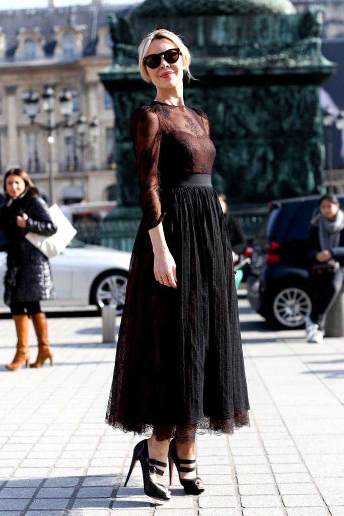 Ulyana Sergeenko made her entrance in frilly, sheer black.
