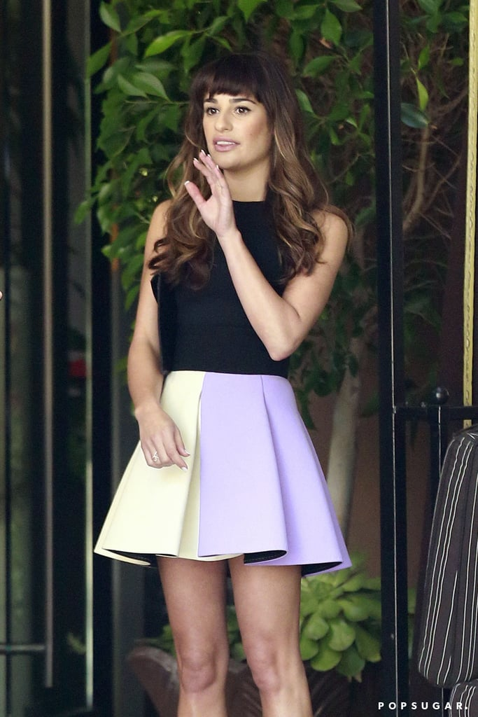 Lea Michele met up with fellow cast members at the Four Seasons in LA.
