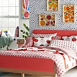 Drew Barrymore Flower Kids Modern Platform Bed and Sweet Strawberry Complete Bedding Set