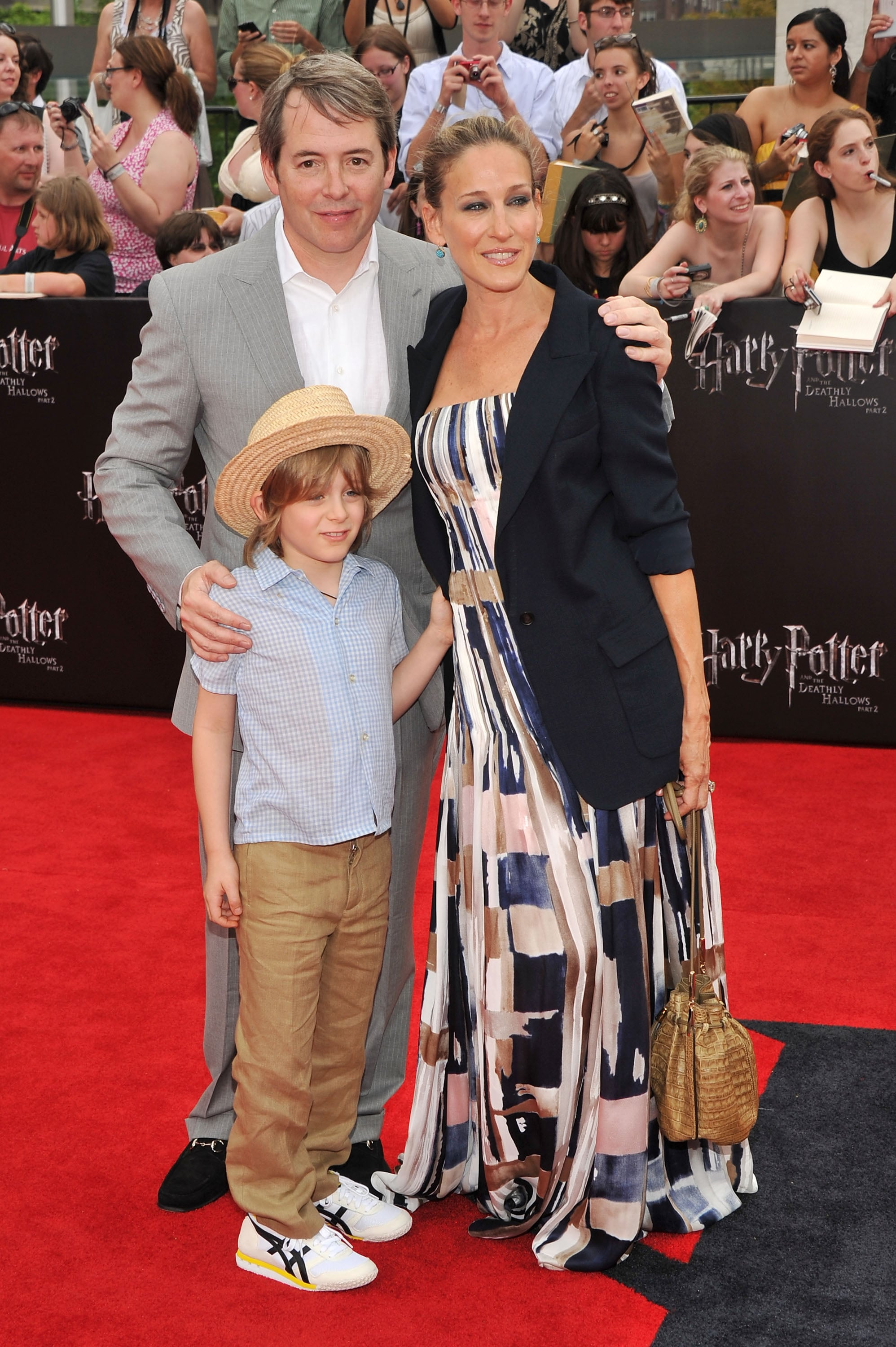 Sarah Jessica Parker, Matthew Broderick, and James Wilkie at the Harry Potter and the Deathly Hallows Part 2 premiere in NYC.