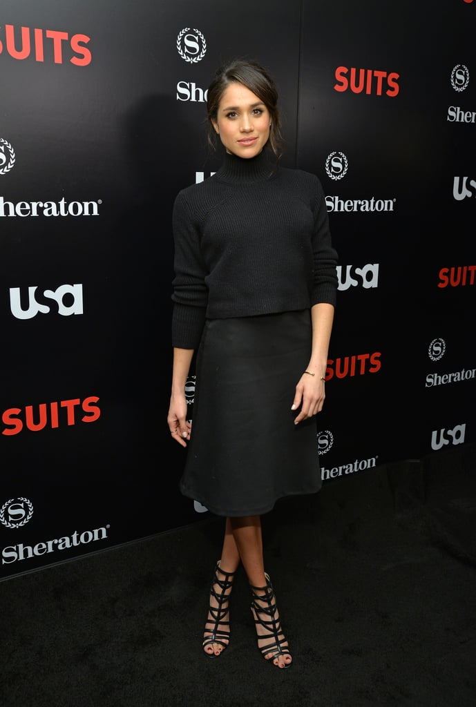 Meghan wore another head-to-toe black look for the premiere of Suits season five.