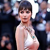 Emily Ratajkowski Stunned in a Massive Emerald Necklace and Champagne-Coloured Silk Dress