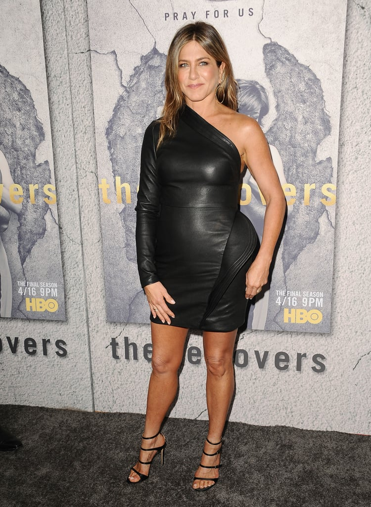 Jennifer wore a one-shouldered leather dress by Brandon Maxwell to the season three premiere of HBO's The Leftovers.