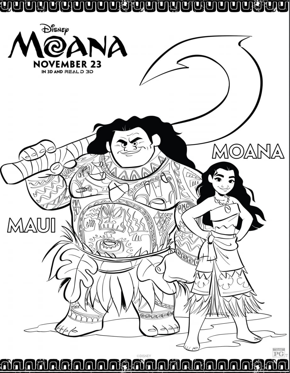 Disney S Printable Moana And Maui Coloring Pages Popsugar Family