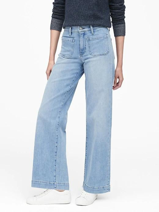 High-Rise Wide-Leg Patch Pocket Jeans