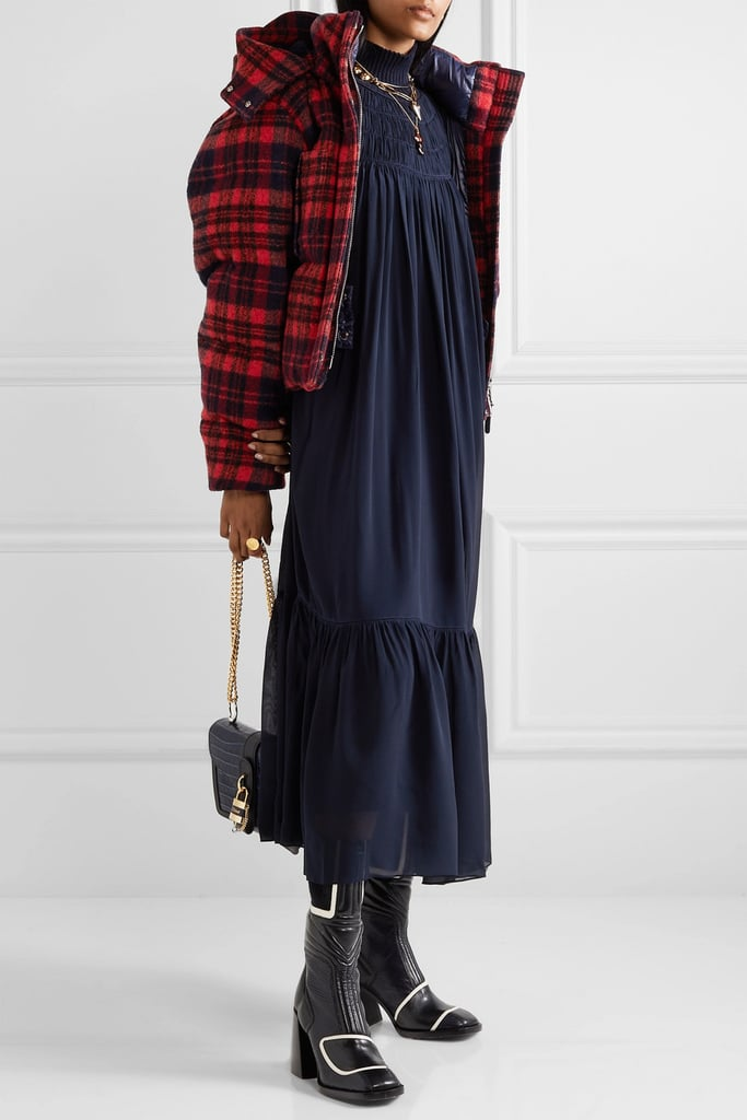 Chloé Hooded Quilted Checked Wool Jacket