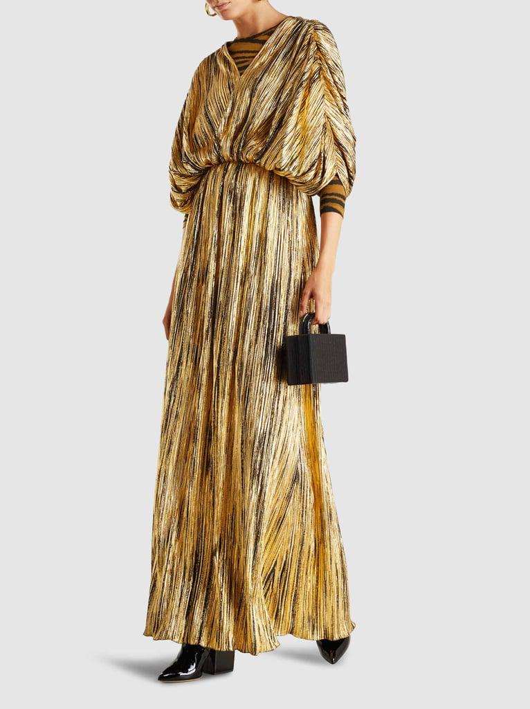 My Pick: Dima Ayad Pleated V-Neck Crepe Maxi Dress