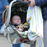Jack Pratt was toted around in his car seat.