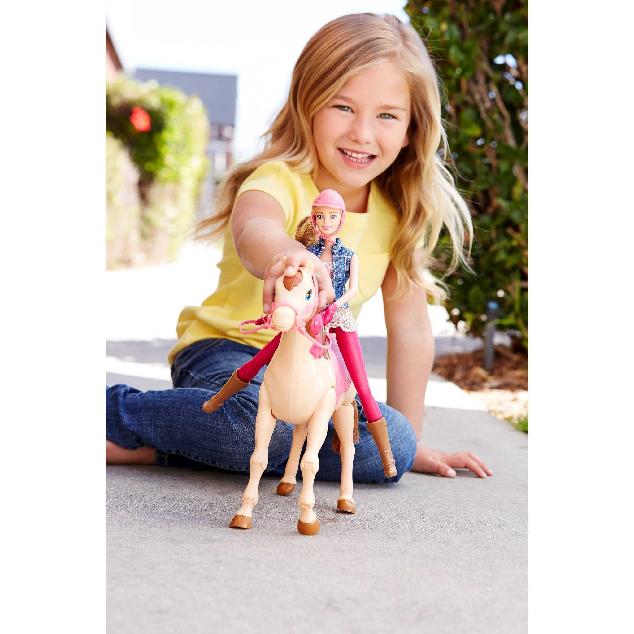for 3 year olds barbie saddle 39 n ride horse doll the best gifts for kids under 10 years old. Black Bedroom Furniture Sets. Home Design Ideas