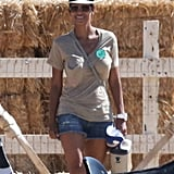 Halle Berry was all smiles at the pumpkin patch.