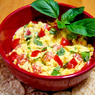 Recipe For Vegan Corn Dip With Tomatoes and Basil