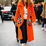With a Bright Coat and Denim