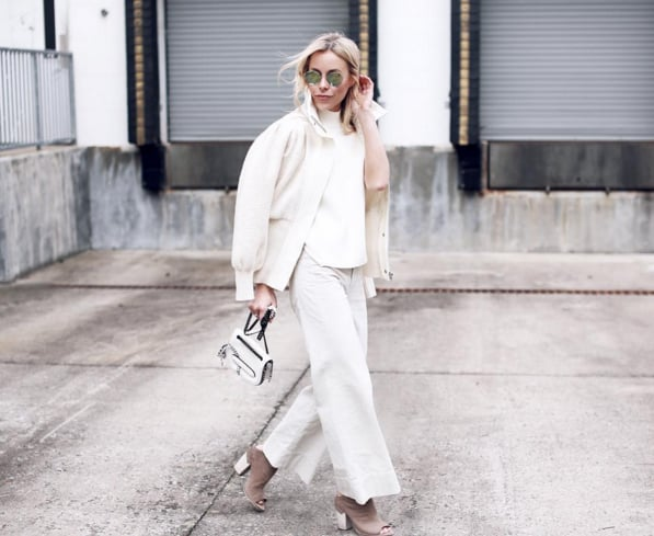 2016: Luxe white separates that feel polished, likely including a turtleneck.