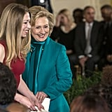 Hillary and Chelsea Clinton supported Bill Clinton at the event.