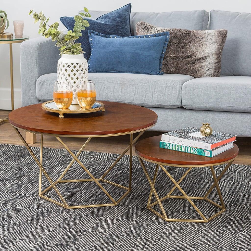 Geometric Gold And Walnut Wood Nesting Coffee Tables