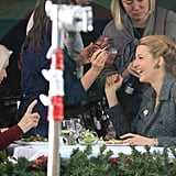 Blake Lively let out a big laugh while filming a scene with Ellen Burstyn for their new film, The Age of Adaline, in Vancouver.