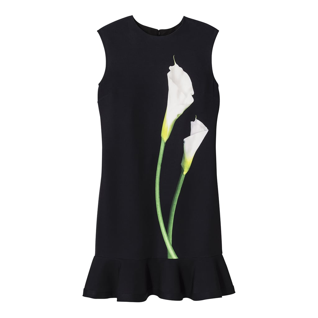 Black Calla Lily Satin Ruffle Hem Dress  ($35)