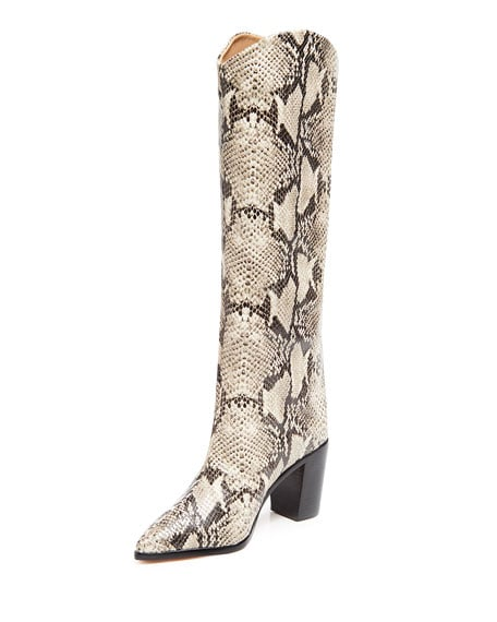 Schutz Analeah Snake-Print Leather Tall Boots