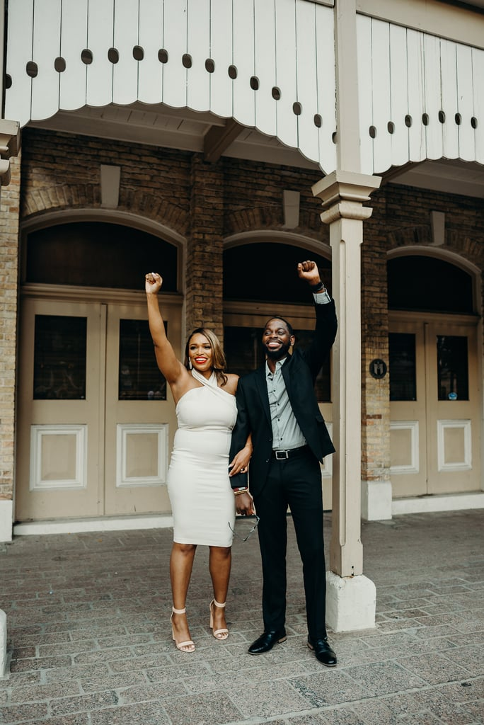 """When Brittany and Ja'Michael ventured to different beautiful backdrops in downtown Austin to shoot their engagement photos back in early June, they hadn't planned on a Black Lives Matter protest being one of their settings. But for the couple who got engaged last November, posing for their engagement photos amidst a rally where thousands had gathered to fight against police brutality and racial injustice ended up being an important moment they'd never forget.  """"The words, 'Black Lives Matter' are more than just a slogan, it is our reality."""" """"As an African American couple, it was a moment for us to reflect on the importance of Black lives in this nation and also showed others that despite the circumstances of the country, love still prevails,"""" Brittany told POPSUGAR in an email. The photo shoot took place on June 7, the tenth consecutive day of Black Lives Matter protests following George Floyd's wrongful death in Austin, so while the couple knew they were still taking place, Brittany and Ja'Michael never thought they'd run into the peaceful demonstrations during their shoot. In fact, the moment came as such a surprise that Ja'Michael found himself shedding a few tears. """"As a Black male, my fiancé was very emotional because the words 'Black Lives Matter' are more than just a slogan, it is our reality,"""" Brittany said. """"When we hear the many stories similar to that of George Floyd's untimely death, we see our family members,"""" Brittany added. """"We wanted to make sure that we paid tribute to the many lives lost, while capturing modern day Black history as a part of a love story."""" While snapping their engagement photos was a special occasion in itself, it was particularly meaningful for the couple to have captured the unexpected encounter. """"We were able to cheer on the protesters as they fought for justice, while they cheered us on simply for representing Black love,"""" she said. See the striking photos from their shoot ahead.      Related:                                   """