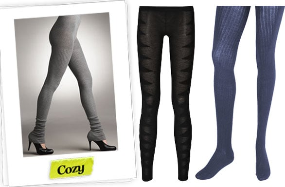 Falke Ribbed Over-The-Heel Leggings ($64), Rick Owens Merino Wool Zig-Zag Footless Tights ($870), Forever 21 Ribbed Knit Tights ($7)