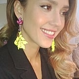 Jessica Alba showed off a chic new pair of Mawi earrings. Source: Twitter user jessicaalba