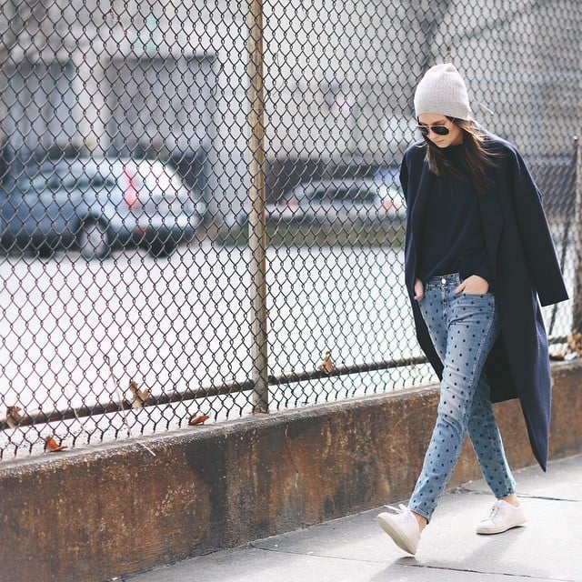With Jeans, a Tee, and Sneakers