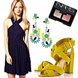 A dressed-up look for a fancy dinner date with your main squeeze.  Whistles Mia Dress ($156), Tom Binns Ethno Teknik Swarovski Crystal Earrings ($340), NARS Duo Eyeshadow ($33), Topshop Rococo Crossover Strap Sandal ($110)