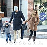 Gisele Bündchen and her family trekked through the snow.