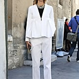 White suiting got a glam update with a touch of peplum and a hint of sparkle.