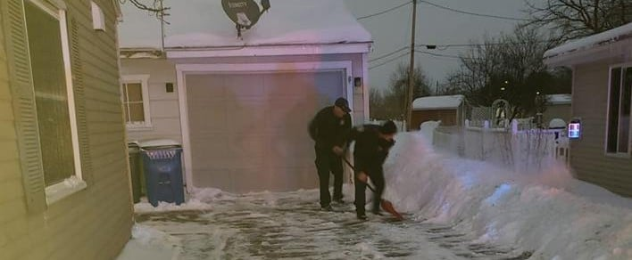 Firefighters Shovel Driveway After Delivering Baby