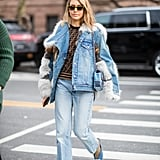 Winter Outfit Idea: A Furry-Trimmed Denim Jacket and Jeans