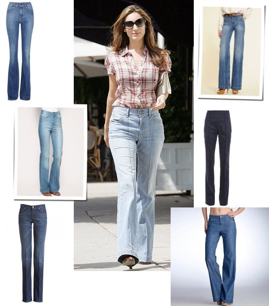 Photo of Kelly Brook in High Waisted Denim Flares