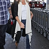 Jen Walked Through LAX in a Cozy Travel Look . . .