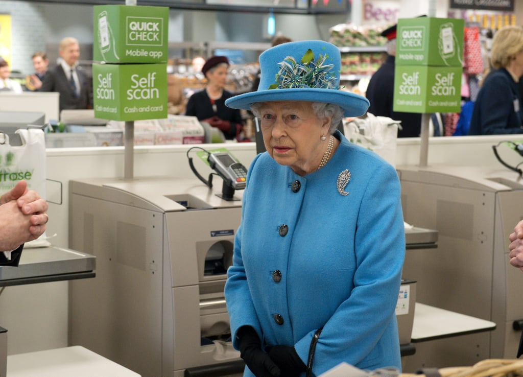 Queen Elizabeth II made a visit to the Waitrose supermarket in the town of Poundbury, Dorset on Thursday. The 90-year-old monarch, who was joined by her husband, Prince Philip; son Prince Charles; and Camilla, duchess of Cornwall, made her way into the store with a guide and strolled through the aisles looking at products. She also met and chatted with store employees and was given a tour. The royal family members were in Poundbury — an experimental new town on the outskirts of Dorchester — for an unveiling of the statue of the queen mother; Charles spoke during the ceremony before accompanying his mother to Waitrose, as well as a local pub. Just another day in the life.