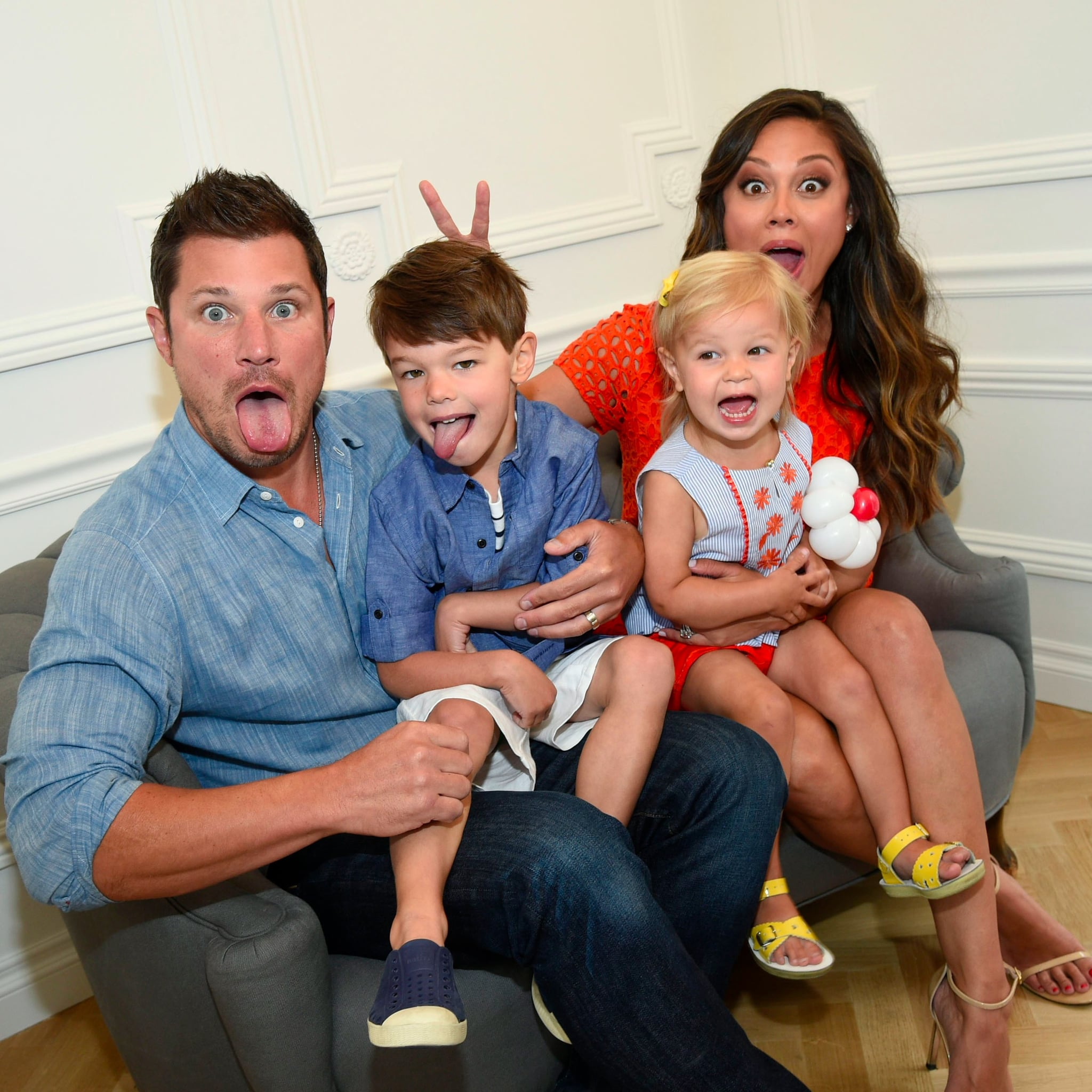 Nick Lachey and Vanessa Minnillo with her son and daughter
