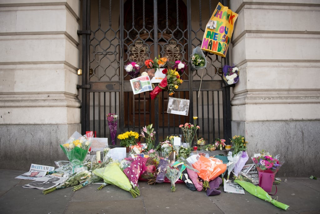 Flowers were set outside the South Africa House in Central London.