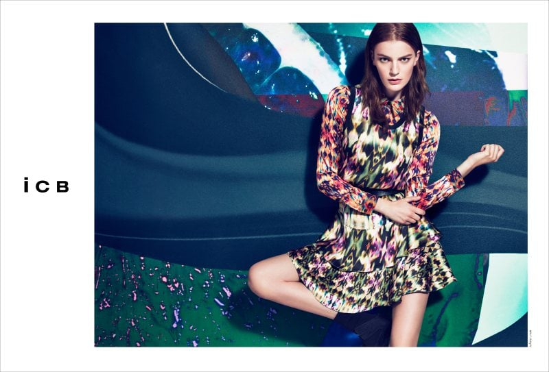 Digital prints and an abstract background make for a visually intriguing ICB Fall ad.