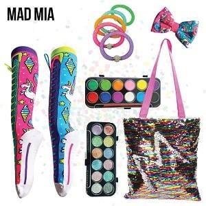 Madmia Showbag ($20) Includes:  Unicorn socks  Unicorn head bow  Body/face paint and glitter set