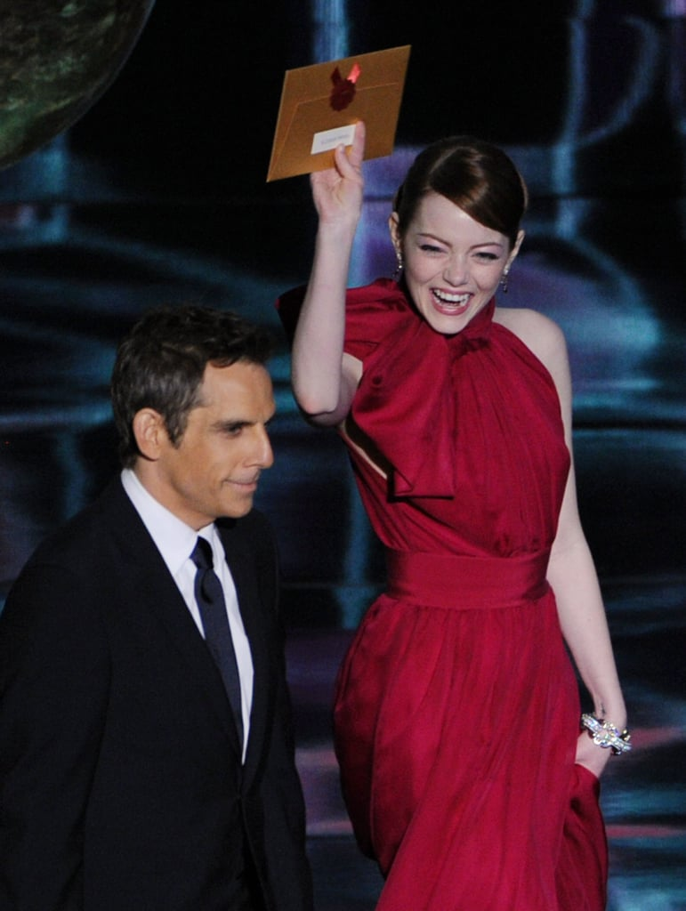 Emma Stone was all smiles while presenting an award with Ben Stiller at the Oscars in February 2012.