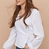 H&M Jacquard-Weave Wrapover Blouse