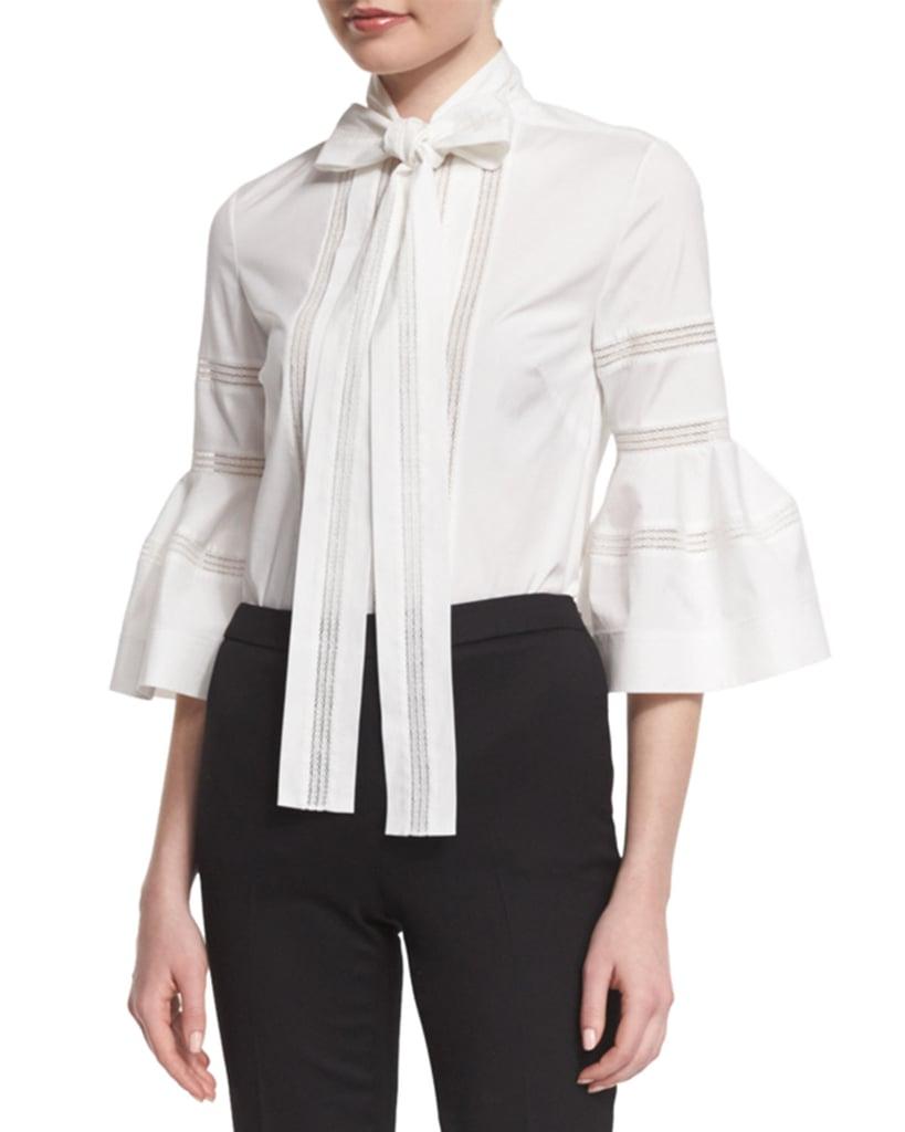 Carolina Herrera Bell-Sleeve Tie-Neck Cotton Blouse ($1,490)